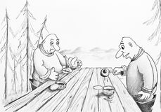 Two fishermen eat canned food. Pencil drawing Stock Images