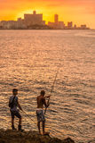 Two fishermen in Havana Stock Photography