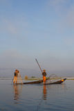 Two fishermen on Inle Lake Royalty Free Stock Photography