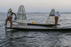 Two Fishermen on the Inle lake in Myanmar Stock Photos