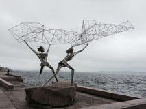 Two fishermen monument Stock Photo