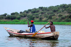 Two fishermen on the Nile Royalty Free Stock Image