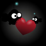 Two fishes with big eyes. Red hearts. Vector. Illustration Royalty Free Stock Images
