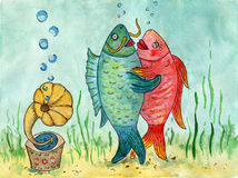 Two fishes dancing a waltz. Funny picture. Dance lovers. Waterco. Lor painting. The dance of fishes on the background of the sea Royalty Free Stock Photos