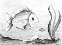 Two fishes. Hand drawn pencil sketch vector illustration