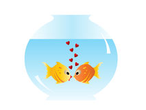 Two fishes in love. Before kiss with heart bubbles Royalty Free Stock Image