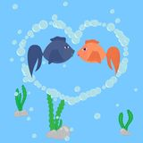 Two fishes. In love in the bubbles heart stock illustration
