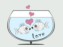 Two Fishes in Love. Romantic sketch with couple of cute kissing fishes, heart bubbles and text Stock Image