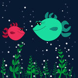 Two fishes on the sea bottom. With seaweed Stock Images