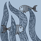 Two fishes in sea weed. Adult antistress coloring page. Hand drawn doodle oceanic animal.  Royalty Free Stock Image