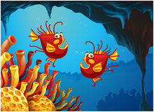 Two fishes under the sea near the coral reefs. Illustration of the two fishes under the sea near the coral reefs on a white background Royalty Free Stock Photo