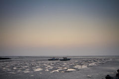 Two fishing boat on beach Royalty Free Stock Images