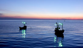 Two Fishing Boat on Blue Sky Stock Photography