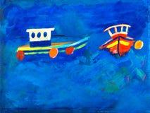Two Fishing Boats At Sea Painting Stock Image