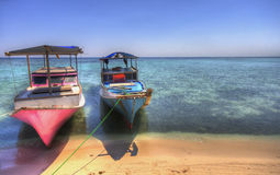 Two Fishing Boats on the Beach Stock Photos