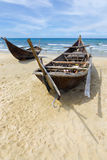Two fishing boats on the beach (Vietnam) Royalty Free Stock Images