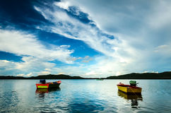 Two Fishing Boats. Campbell's bay at Chanthaburi  in Thailand Royalty Free Stock Images