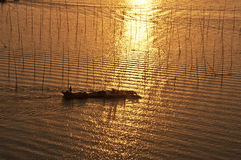 Two fishing boats. In China, hainan province, in the evening, two fishing boat on the sea Royalty Free Stock Photography