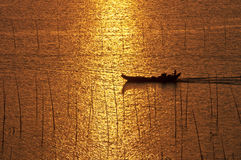 Two fishing boats. In China, hainan province, in the evening, two fishing boat on the sea Stock Image