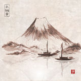 Two fishing boats and Fujiyama mountain. Stock Images
