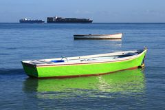 Two Fishing Boats In Shallow Water Royalty Free Stock Images