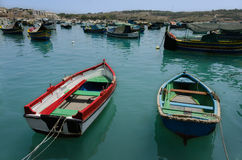 Two fishing boats among the other boats Royalty Free Stock Images