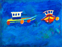 Two fishing boats at sea painting Stock Image