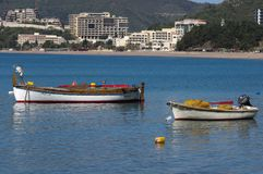 Two fishing boats royalty free stock photos