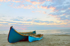 Two Fishing boats and sunrise Royalty Free Stock Image