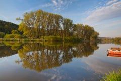 Two fishing punts on the Berounka river Royalty Free Stock Photos