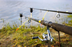Two fishing rods Stock Images