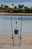 Two fishing rods at the beach Stock Photo