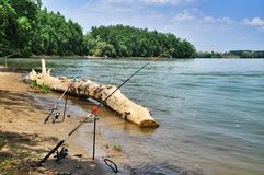 Two Fishing Rods Stock Photography