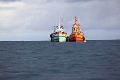 Two fishingboat. Parking in the ocean Royalty Free Stock Image