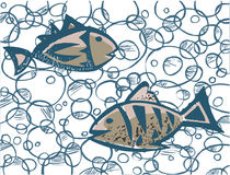 Two Fishs. Two Fishes under the sea stock illustration