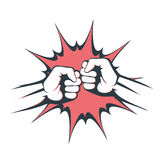 Two fists bumping together vector illustration, two hands with fists Royalty Free Stock Photo