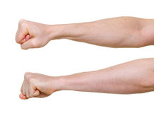 Two fists from different side angles. Isolated on white background Stock Photography