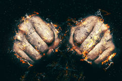 Two fists in flame, fire illustration. Royalty Free Stock Photos
