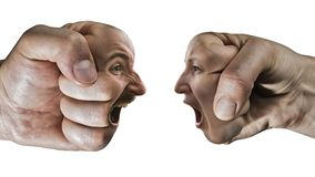 Concept of confrontation, competition, family quarrel etc. Two fists with a male and female face collide with each other on isolated, white background. Concept Stock Image