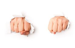 Two fists from paper Stock Photo