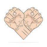 Two Fists in the shape of the heart. Vector illustration. Abstract logo in flat pop art design, on white background Royalty Free Stock Photography