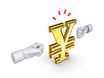 Two fists and symbol of yen. Royalty Free Stock Photo