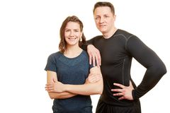 Two fit athlets as coach royalty free stock image