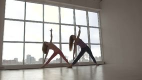 Two fit female friends doing in yoga class with natural light