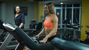 Two fit girls on treadmills stock video