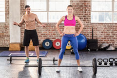 Two fit people working out Royalty Free Stock Image