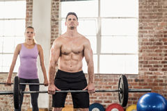 Two fit people working out Royalty Free Stock Photos
