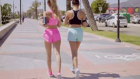 Two fit shapely young women out jogging. Together along a promenade listening to music as they exercise  close up view from behind stock footage