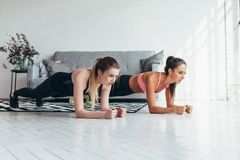 Two fit women doing plank exercise on floor at home Training back and press muscles, sport, fitness workout.  stock photo