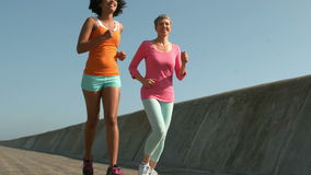Two fit women running together stock video footage